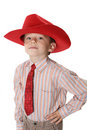 boy in a tie and a cowboy's hat Royalty Free Stock Photo
