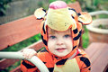 Boy in tiger costume Royalty Free Stock Images