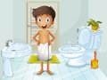 A boy in the toilet illustration of Royalty Free Stock Images
