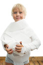Boy and toilet paper little with Stock Photo