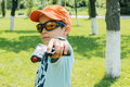 Boy with toy gun Royalty Free Stock Photo