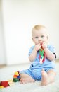 Boy with toy portrait of small playing at home Royalty Free Stock Photos