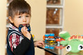 Boy with toys Royalty Free Stock Photo