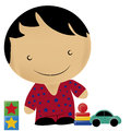Boy and toys a with star pijama playing with his Royalty Free Stock Images