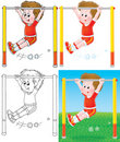 Boy training on a horizontal bar Stock Photography