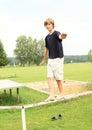 Boy training stability Royalty Free Stock Photo