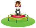 A boy on a trampoline illustration of white background Stock Photo