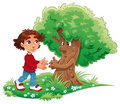 Boy and tree Stock Photography