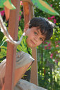 Boy in Tree House Royalty Free Stock Photo