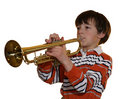 Boy On Trumpet Stock Photo