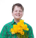 Boy with tulips yellow isolated on white Royalty Free Stock Photography