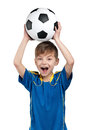 Boy in ukrainian national soccer uniform Royalty Free Stock Photos
