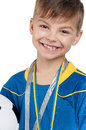 Boy in ukrainian national soccer uniform Royalty Free Stock Image