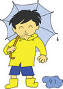 Boy with umbrella Stock Image
