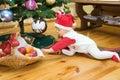 Boy under christmas tree Royalty Free Stock Photo