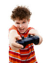 Boy using video game controller Royalty Free Stock Photo