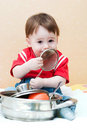 Boy with utensils Royalty Free Stock Photos