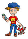 Boy vector illustration schoolboy roller skating and gadget in his hands Royalty Free Stock Photos