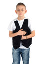 Boy with vest in studio Royalty Free Stock Image