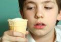 Boy with waffle glass icecream plombir close up Royalty Free Stock Photo