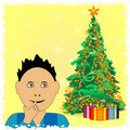 Boy wait Christmas presents Royalty Free Stock Photography