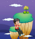 A boy waiting for someone at the topmost part of a landform illustration Stock Photography