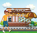 A boy walking across the bakery illustration of Royalty Free Stock Image