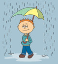 Boy walking in the rain vector illustration of a who is Royalty Free Stock Image