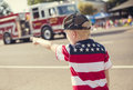 Boy watching an Independence Day Parade Royalty Free Stock Photo