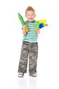 Boy with water gun Royalty Free Stock Photography