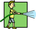 Boy with a water hose vector illustration Stock Photos