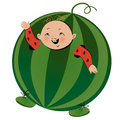 Boy in watermelon suit Royalty Free Stock Photo