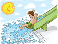 Boy on waterslide Stock Photos
