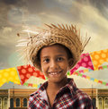 Boy wearing Caipira clothes for the Junina Brazilian Party Royalty Free Stock Photo