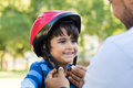 Boy wearing cycle helmet Royalty Free Stock Photo