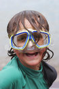 Boy Wearing Diving Mask Stock Images
