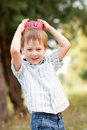 A boy wearing a knitted crown on the head Royalty Free Stock Images
