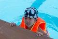 A boy wearing a life jacket Royalty Free Stock Photo
