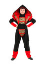 Boy wearing ninja costume little red and black isolated on white Royalty Free Stock Photography