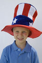 Boy Wearing Stars And Stripes Top Hat Royalty Free Stock Photos