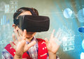 Boy wearing VR Virtual Reality Headset with Interface