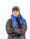Boy wearing winter clothes Stock Image