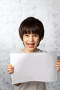Boy with a white banner in hands Stock Photography
