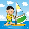 Boy and windsurfing Royalty Free Stock Photo