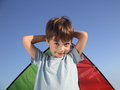 Boy with wing kite outdoors Royalty Free Stock Photo