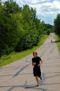 Boy winning marathon race Royalty Free Stock Images
