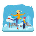 Boy with in winter clothes, ride on ice good mood.