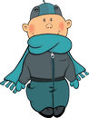 A boy in a winter jacket and a cap cartoon the little with dark blue scarf Royalty Free Stock Photography