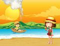 A boy in a wooden boat and a girl at the seashore illustration of Royalty Free Stock Images