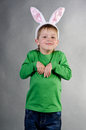 The boy wore bunny ears Royalty Free Stock Image